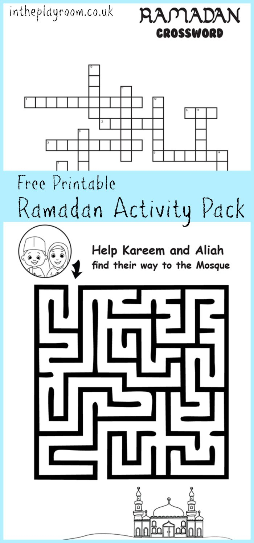 Ramadan Maze And Crossword Printable Activities - In The Playroom - Printable Children's Crossword Puzzles Uk