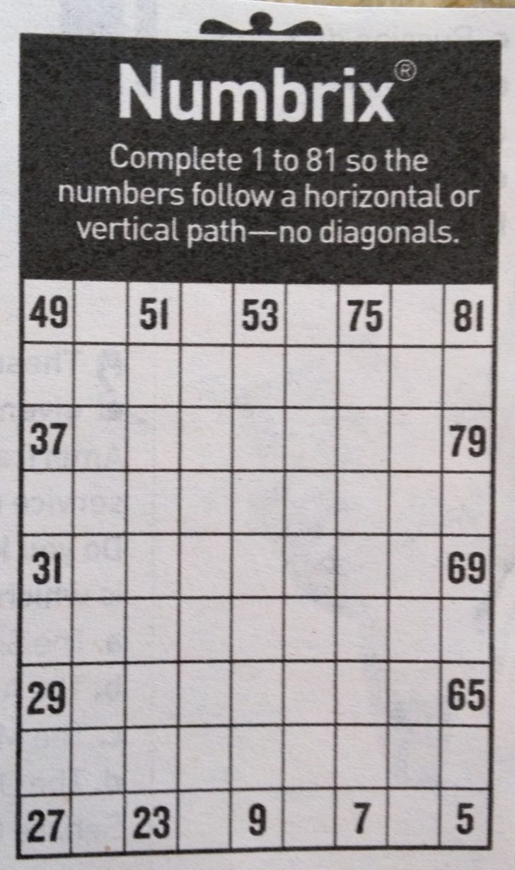 picture regarding Numbrix Printable titled Printable Crossword Puzzles - Element 163