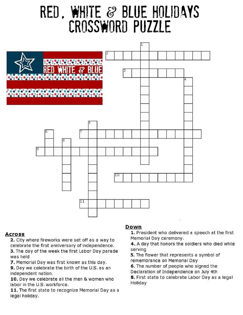 Red, White And Blue Holidays Crossword Puzzle   * Printables - Printable Fourth Of July Crossword Puzzles