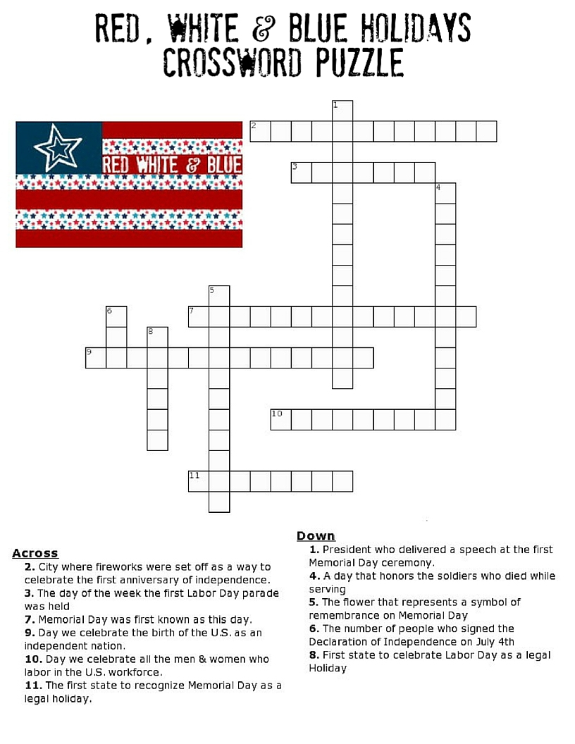 Red, White And Blue Holidays Crossword Puzzle - Three Kids And A Fish - Printable Crossword Of The Day