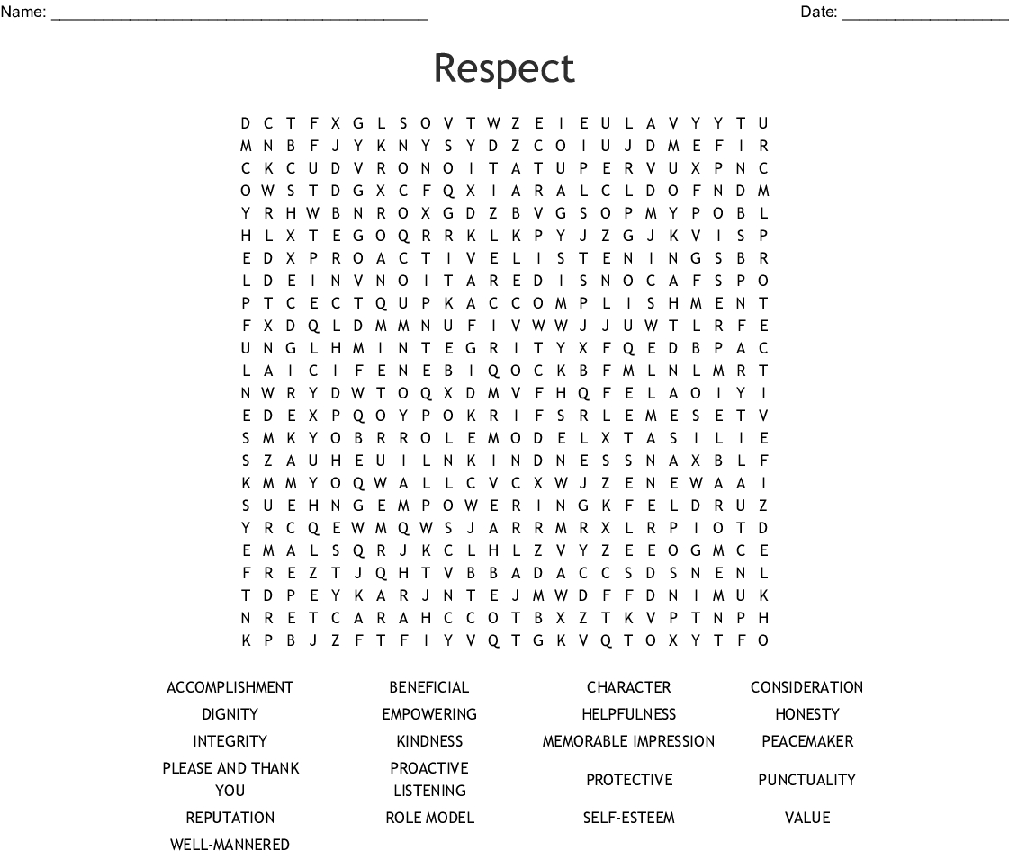 Respect Word Search - Wordmint - Respect Crossword Puzzle Printable
