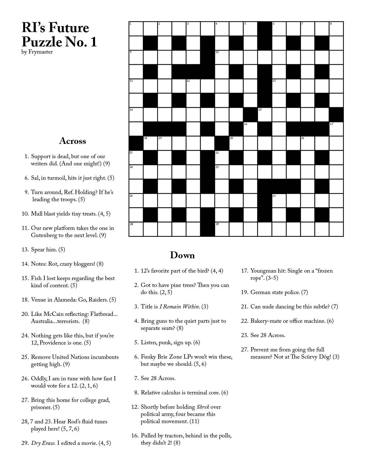 Ri Future Cryptic Crossword #1 - Printable Cryptic Crossword