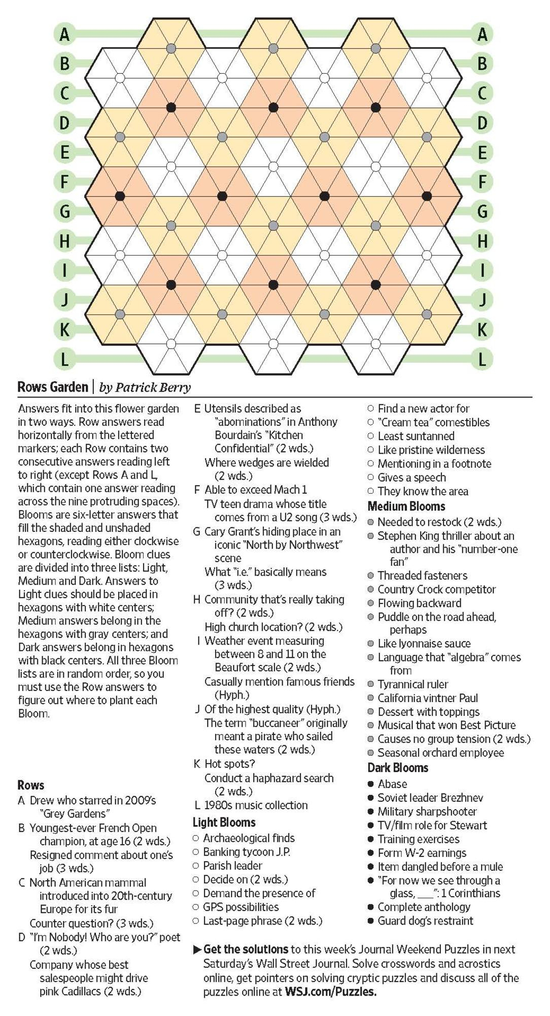 Rows Garden (Saturday Puzzle) - Wsj Puzzles - Wsj - Printable Crossword Puzzles Wsj
