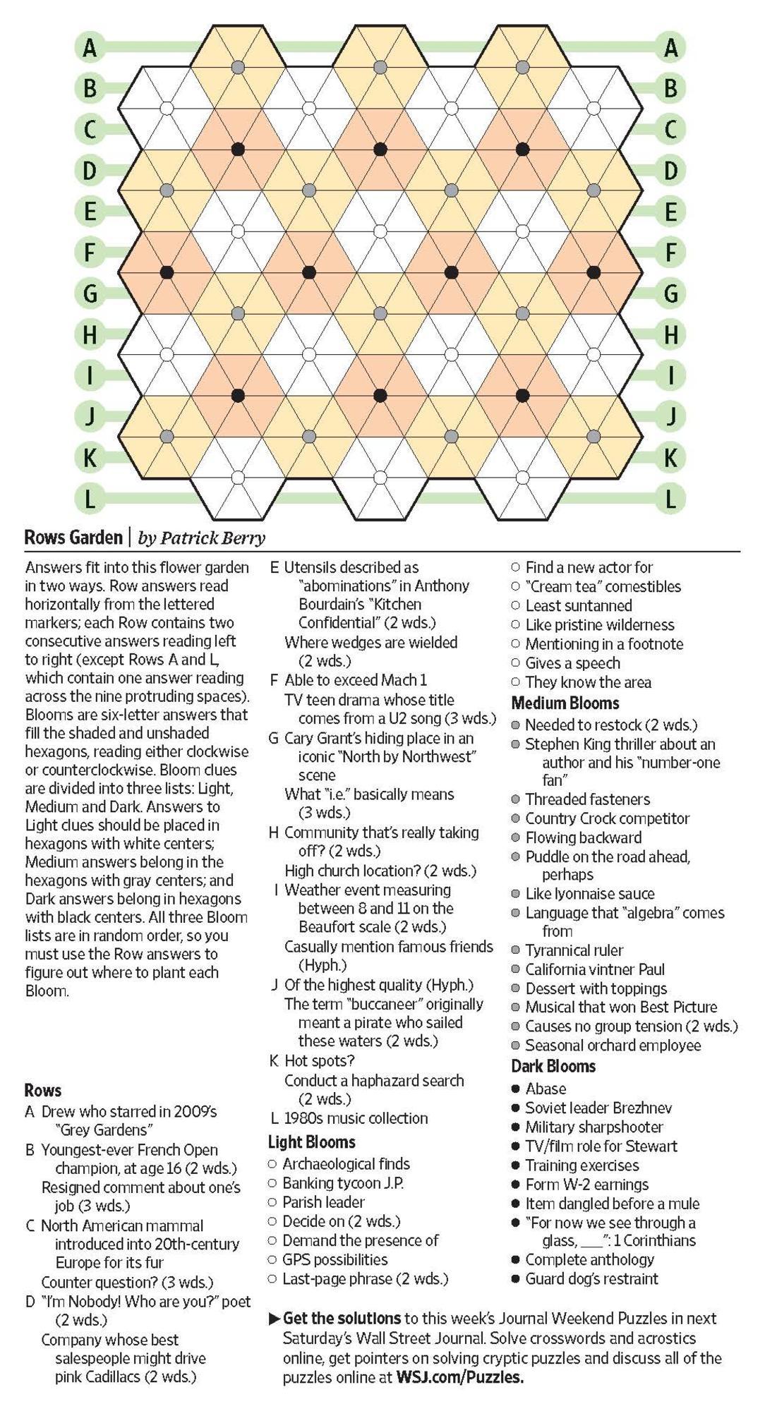 Rows Garden (Saturday Puzzle) - Wsj Puzzles - Wsj - Printable Wsj Crossword