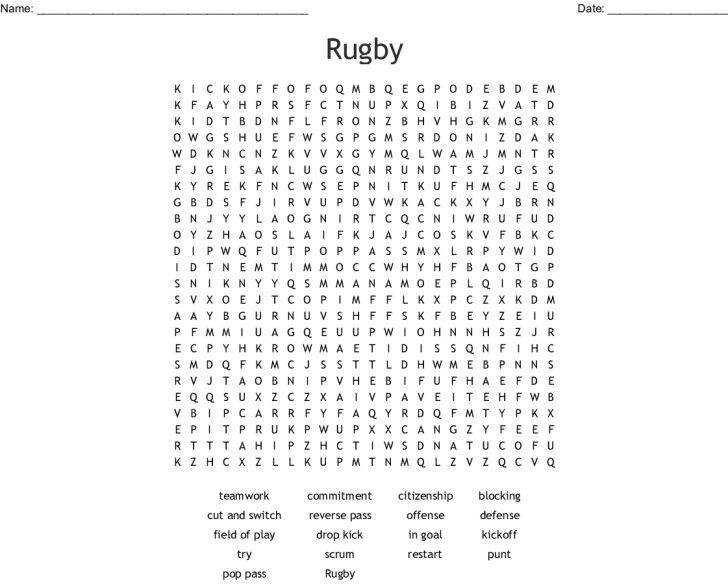 Printable Crosswords Rugby