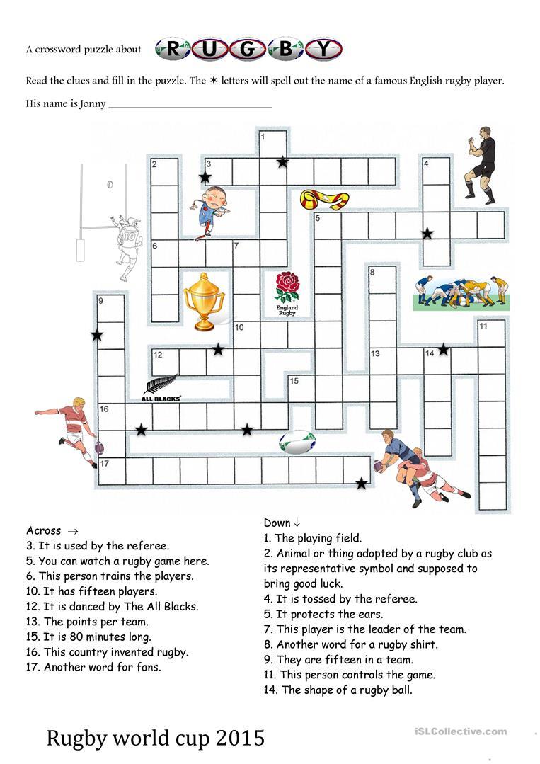 Rugby World Cup 2015 Crosswords Worksheet - Free Esl Printable - Printable Crosswords Rugby