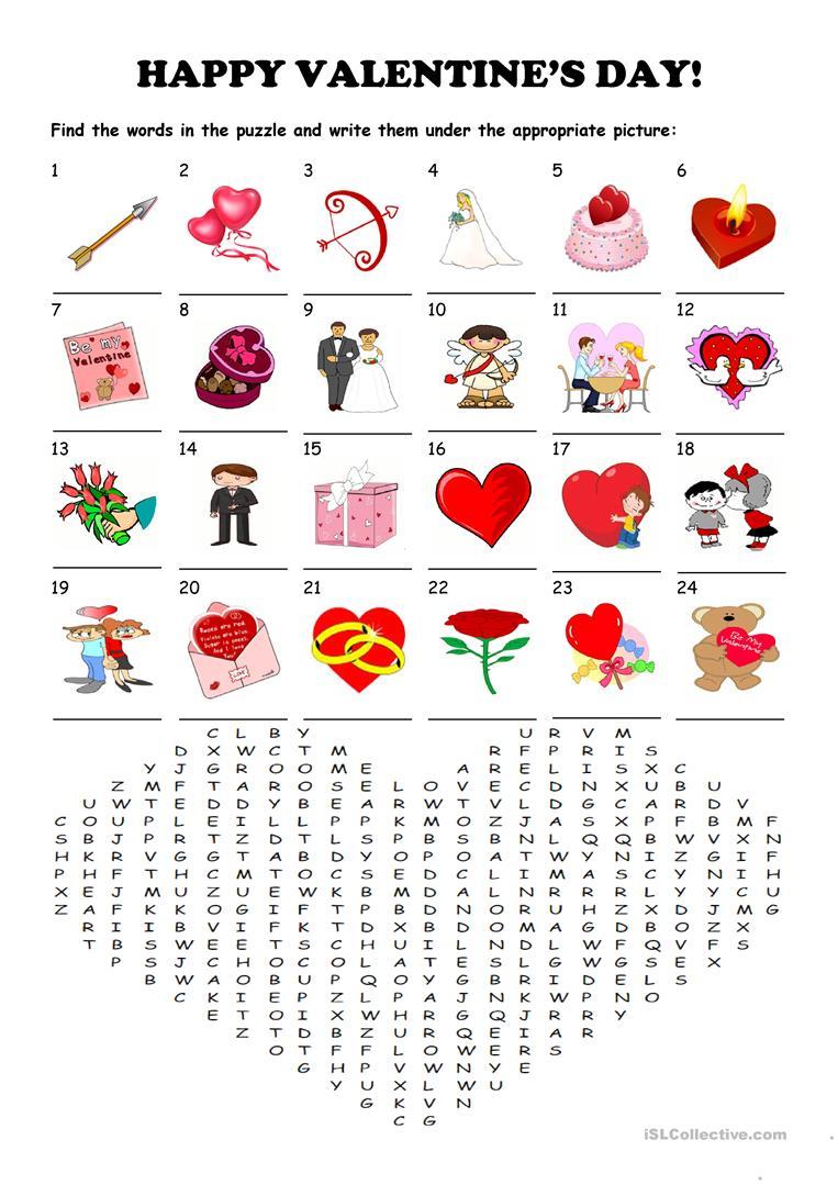 Saint Valentine's Day - Word Search Puzzle Worksheet - Free Esl - Printable Valentine Crossword Puzzle