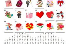 Saint Valentine's Day – Word Search Puzzle Worksheet – Free Esl – Printable Valentine Heart Puzzle