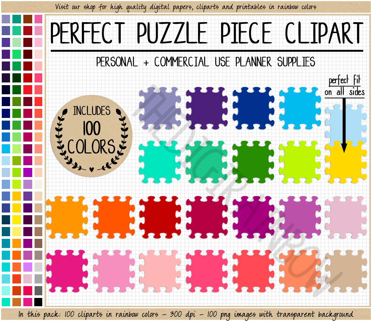 Sale 100 Puzzle Clipart Rainbow Puzzle Printable Sticker Board   Etsy - Printable Rainbow Puzzle