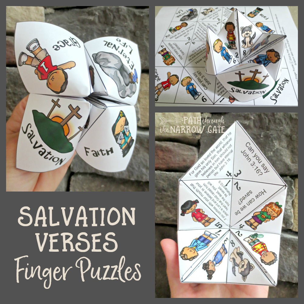Salvation Verses Finger Puzzle - Path Through The Narrow Gate - Printable Christmas Finger Puzzle With Bible Verses