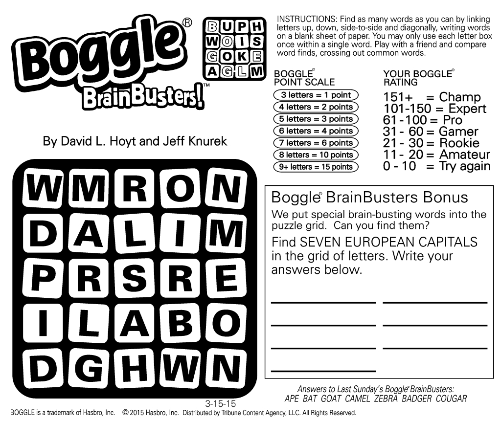 Sample Of Boggle Brainbusters Sunday Square | Tribune Content Agency - Printable Boggle Puzzle