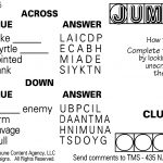 Sample Of Daily Horizontal Jumble Crosswords | Tribune Content   Printable Jumble Crosswords