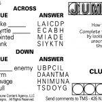 Sample Of Daily Horizontal Jumble Crosswords | Tribune Content   Printable Jumble Crosswords