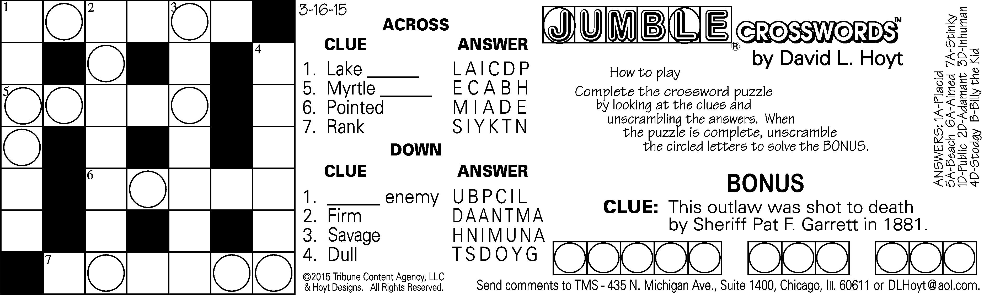 Sample Of Daily Horizontal Jumble Crosswords | Tribune Content - Printable Jumble Crosswords