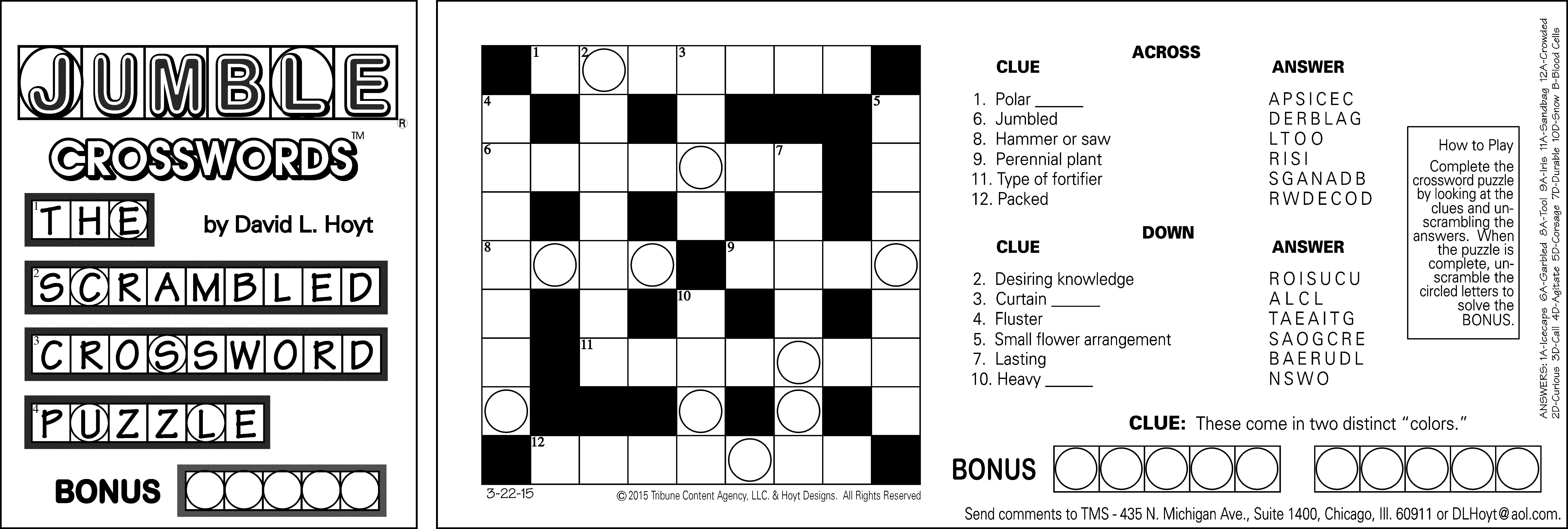 Sample Of Horizontal Sunday Jumble Crosswords | Tribune Content - Printable Jumble Puzzles With Answers