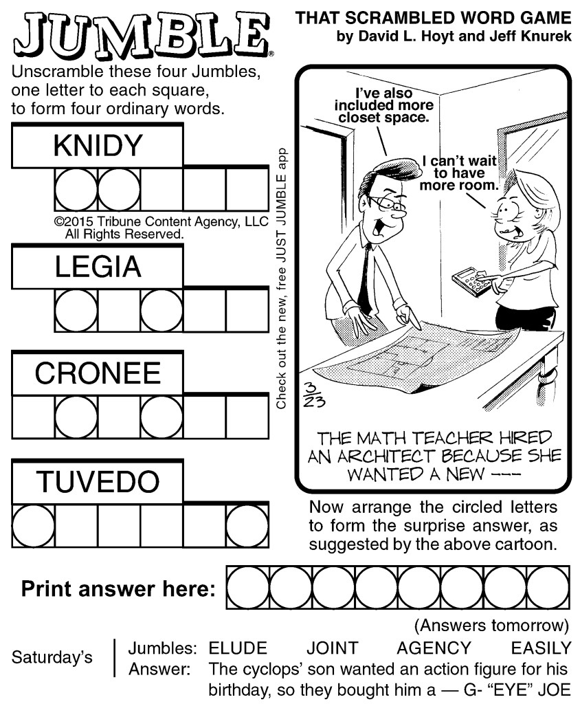 Sample Of Jumble   Tribune Content Agency (March 23, 2015) - Free - Printable Jumble Puzzles For Adults