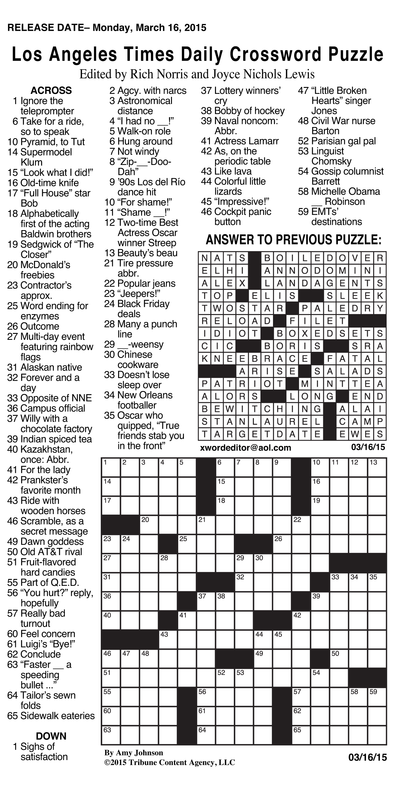 Sample Of Los Angeles Times Daily Crossword Puzzle | Tribune Content - La Times Printable Crossword 2015