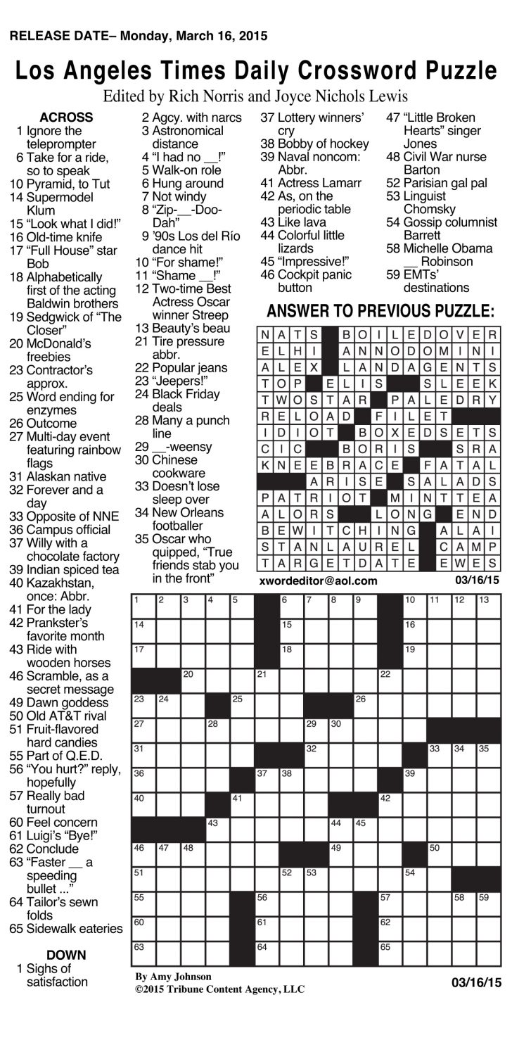 Washington Post Sunday Crossword Puzzle Printable