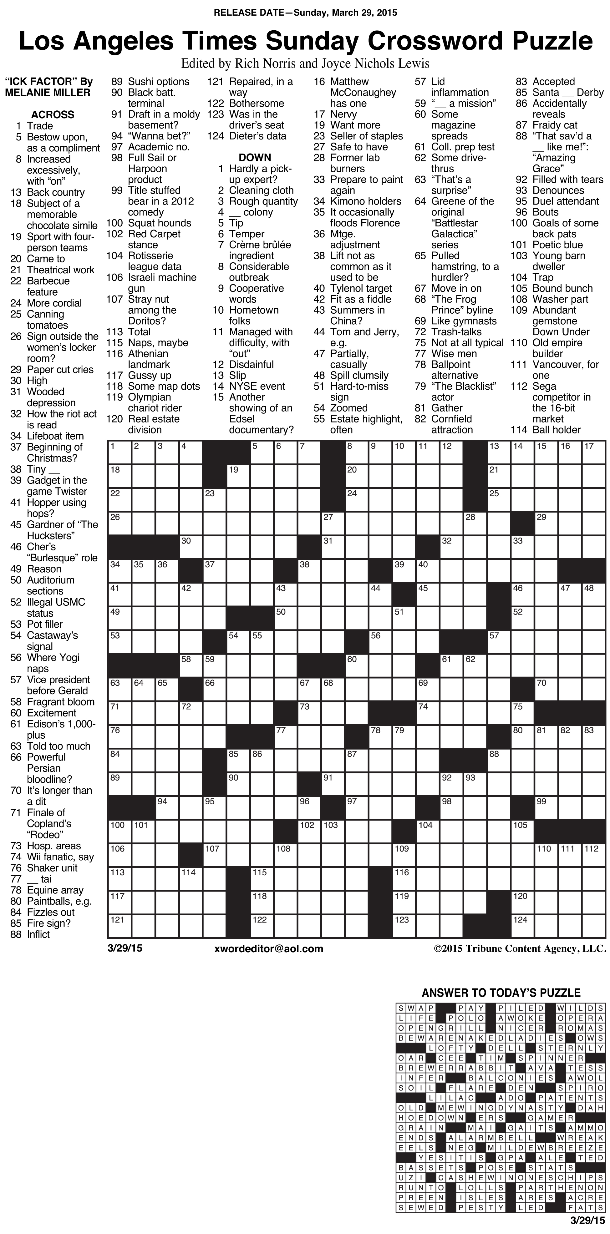 Sample Of Los Angeles Times Sunday Crossword Puzzle | Tribune - La Times Printable Crossword 2015