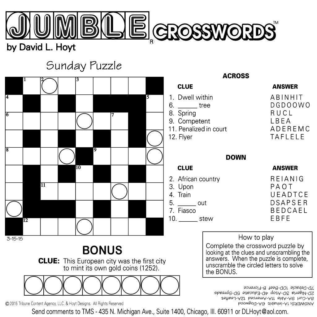 Sample Of Square Sunday Jumble Crosswords | Tribune Content Agency - Chicago Sun Times Crossword Puzzle Printable