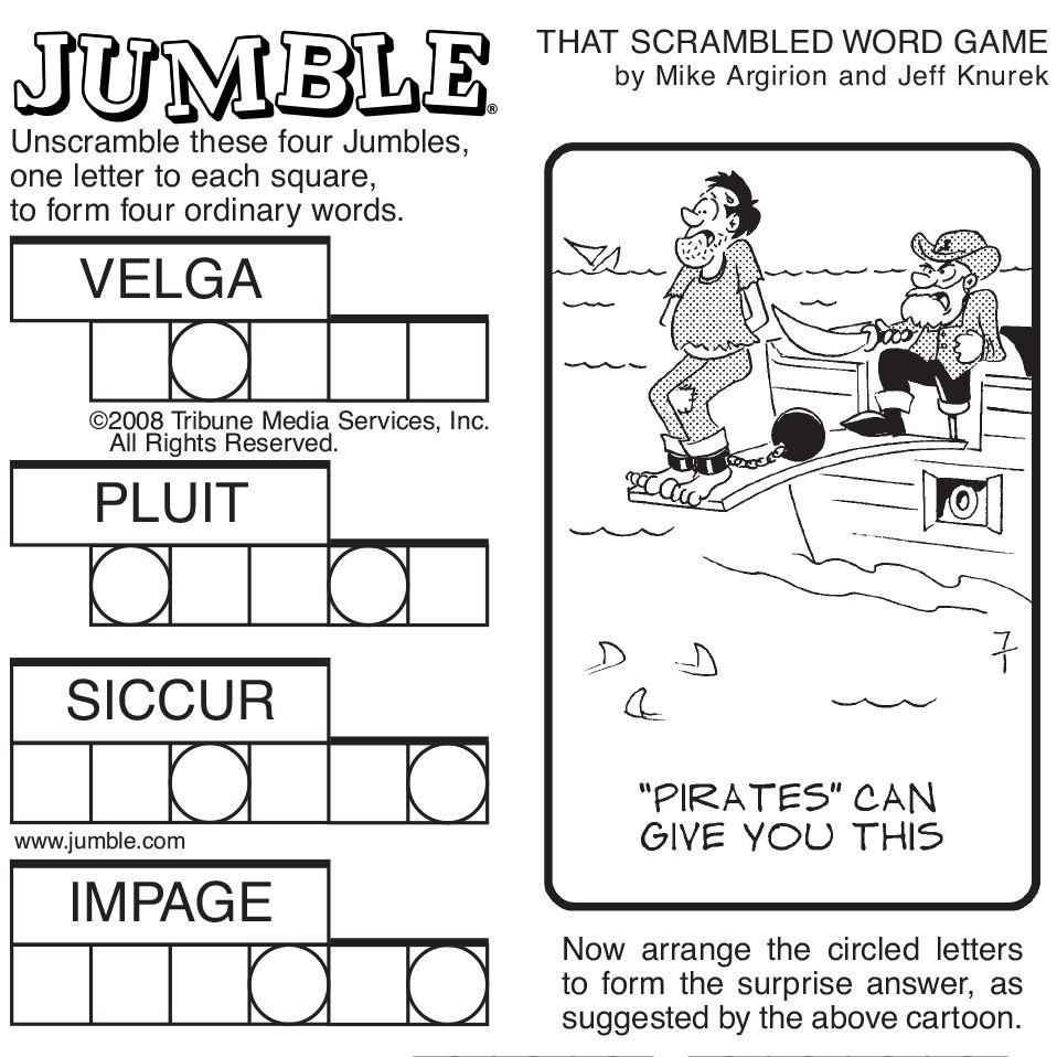 Sample Of Sunday Jumble   Tribune Content Agency   Stuff I Like - Printable Daily Jumble Puzzle