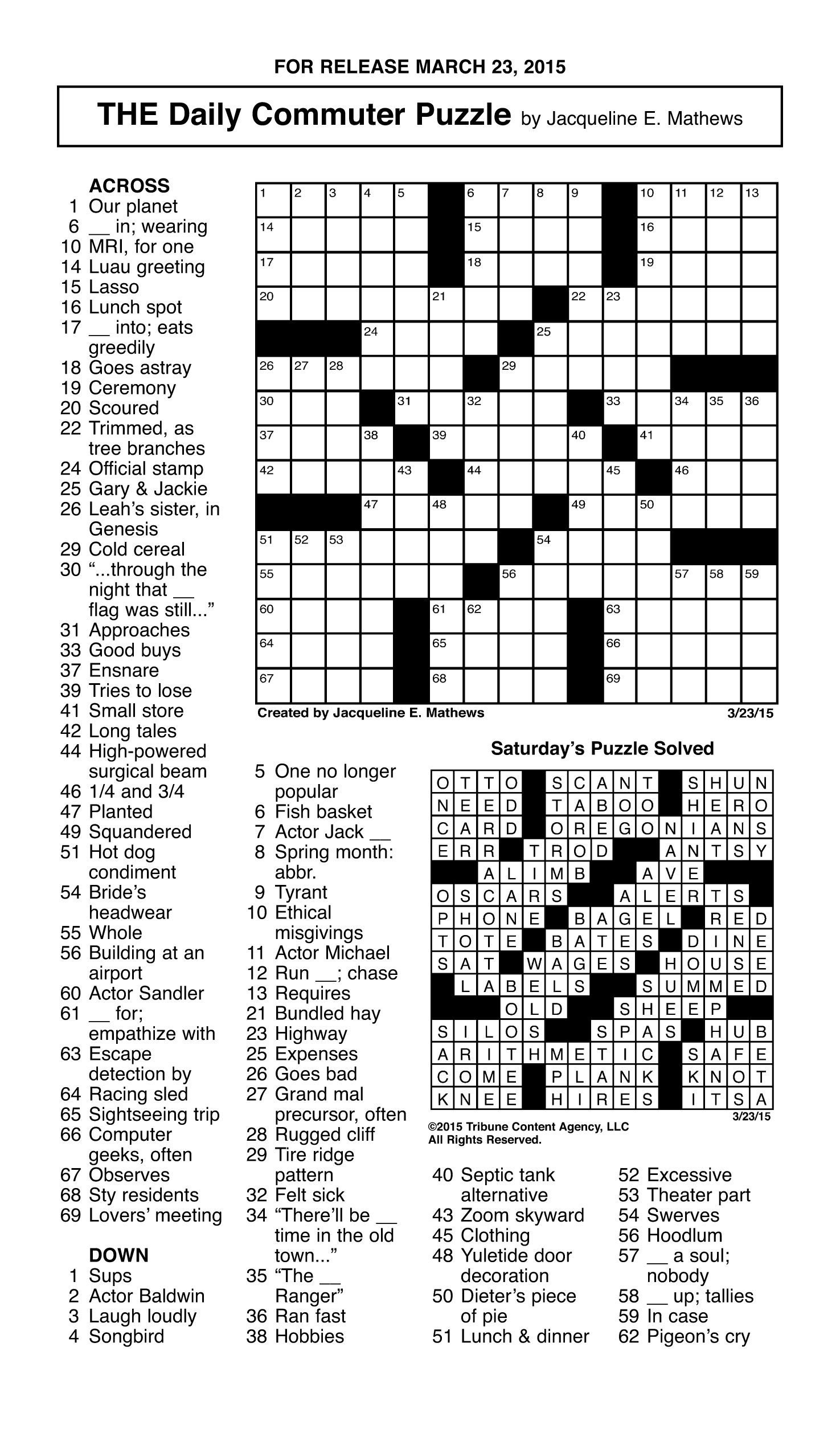 Sample Of The Daily Commuter Puzzle | Tribune Content Agency (March - Printable Commuter Crossword Puzzles