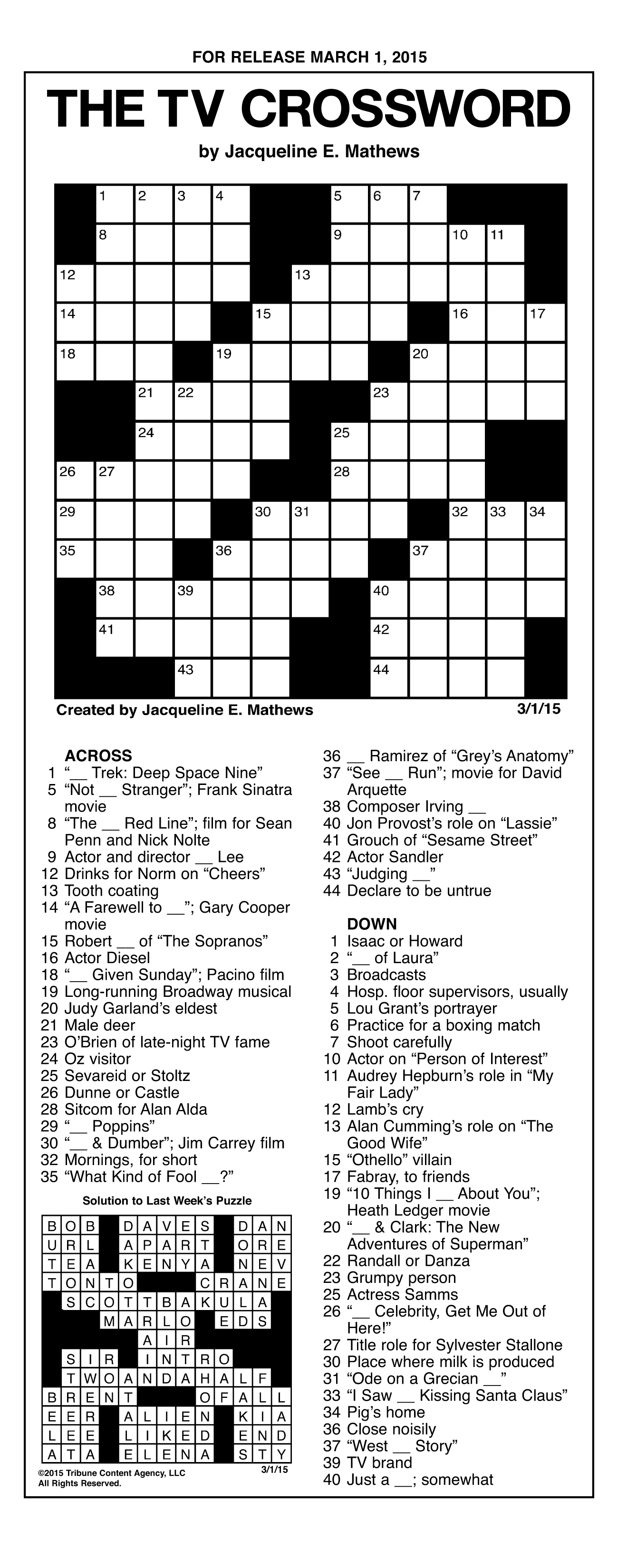 Sample Of The Tv Crossword | Tribune Content Agency (March 1, 2015) - 90S Crossword Puzzle Printable
