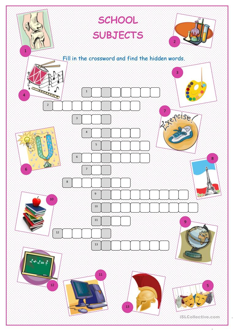 School Subjects Crossword Puzzle Worksheet - Free Esl Printable - Printable Crossword Puzzles By Subject