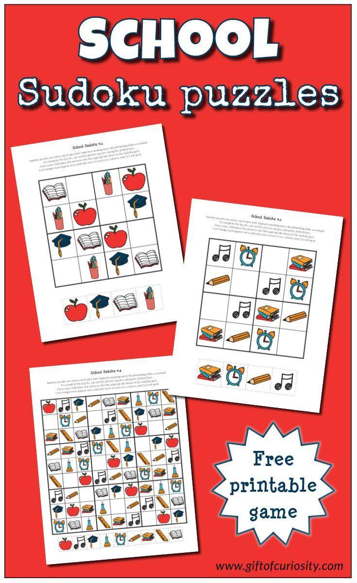 School Sudoku Puzzles {Free Printables}   Tutoring - Sudoku Puzzles - Printable Deductive Reasoning Puzzles