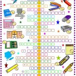 School Things: Crossword Puzzle With Key: Esl Printable Worksheet Of   Printable Crossword Puzzle For Primary School