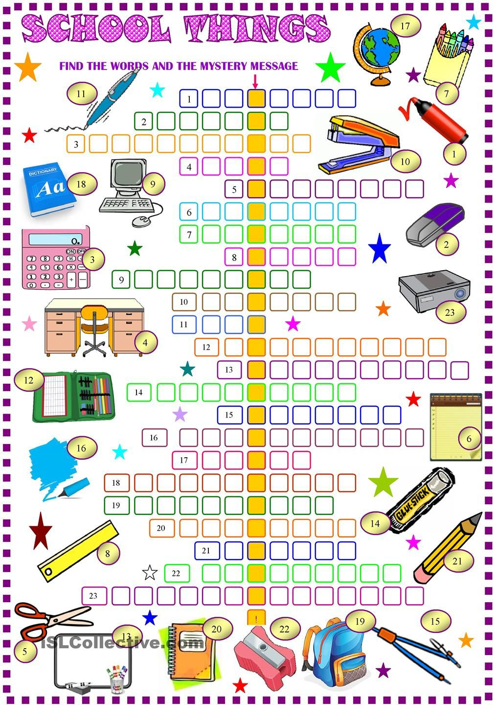 School Things: Crossword Puzzle With Key: Esl Printable Worksheet Of - Printable English Vocabulary Crossword Puzzle
