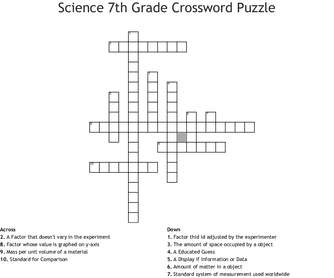 Science 7Th Grade Crossword Puzzle Crossword - Wordmint - Crossword Printable 7Th Grade