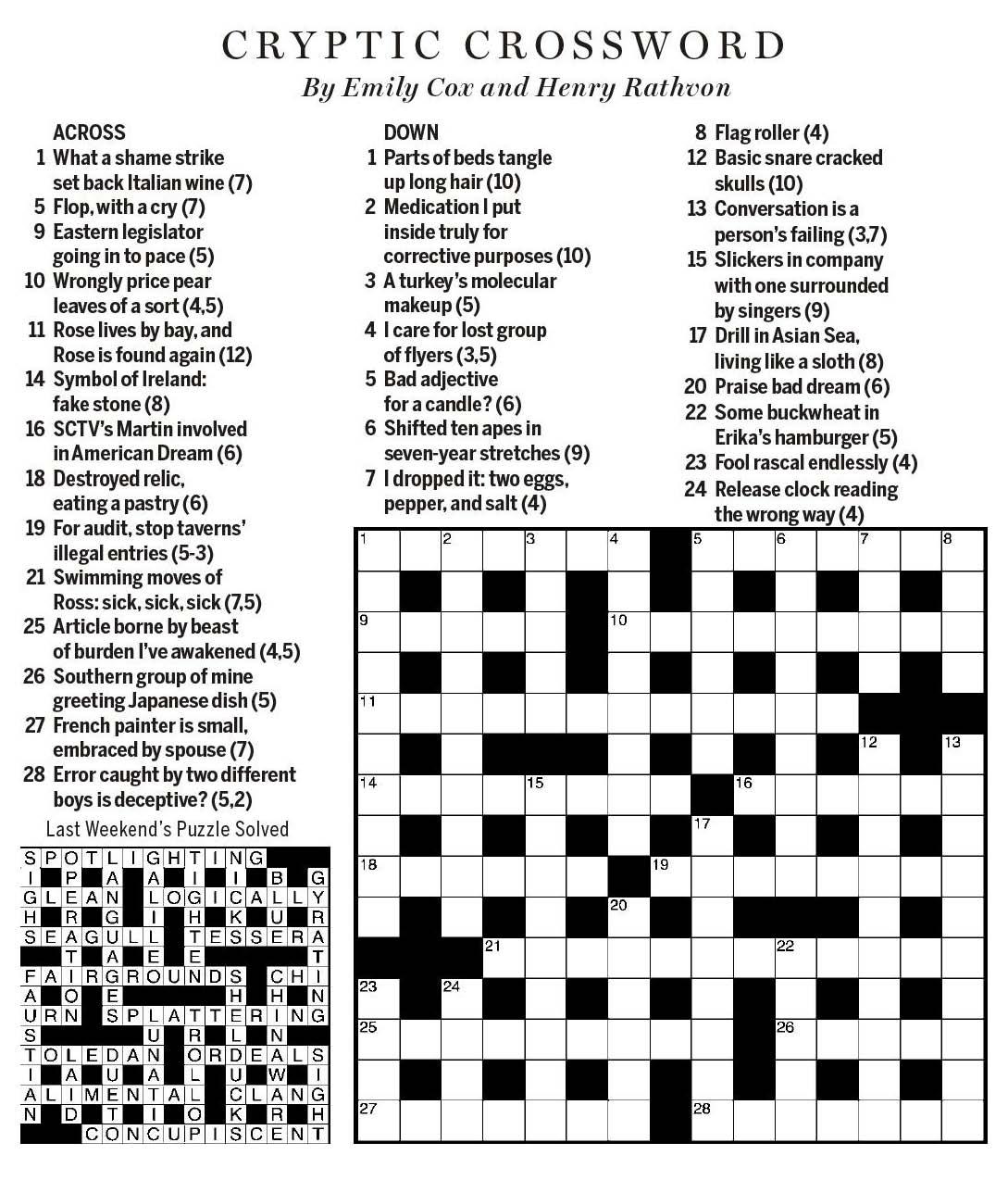 Sctv Crosswords - Printable Wsj Crossword