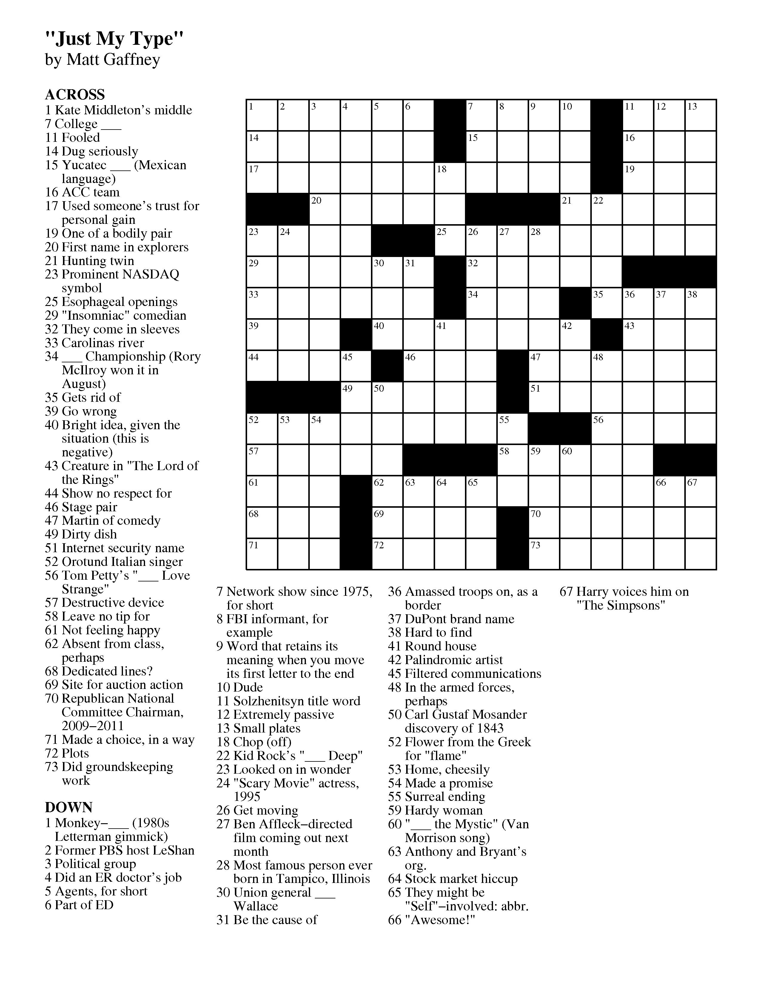 September | 2012 | Matt Gaffney's Weekly Crossword Contest - Printable Crossword Puzzles August 2017