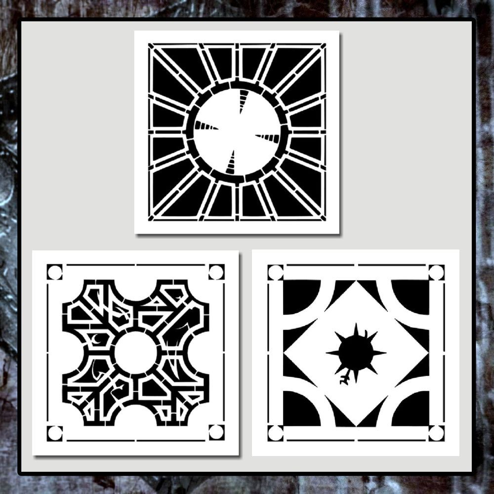 Set 3 Hellraiser Lament Configuration Puzzle Box Stencils Hellbound - Printable Hellraiser Puzzle Box