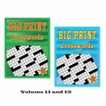 Set Of 2 Large Print Crossword Puzzle Books Soft Cover Easy To Read   Large Print Crossword Puzzle Books