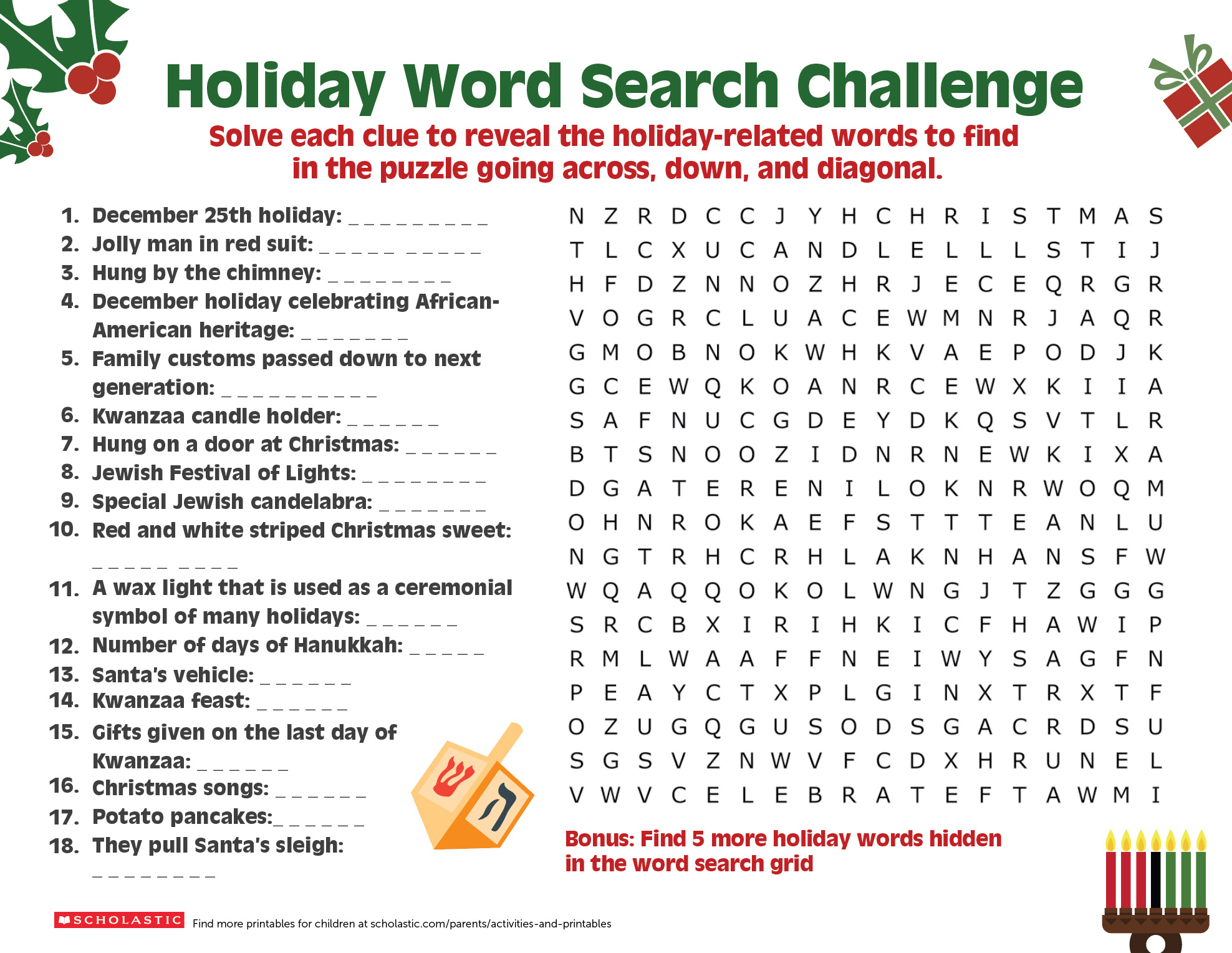 Share A Holiday Word Search-Puzzle With Your Older Child - Printable Holiday Puzzle