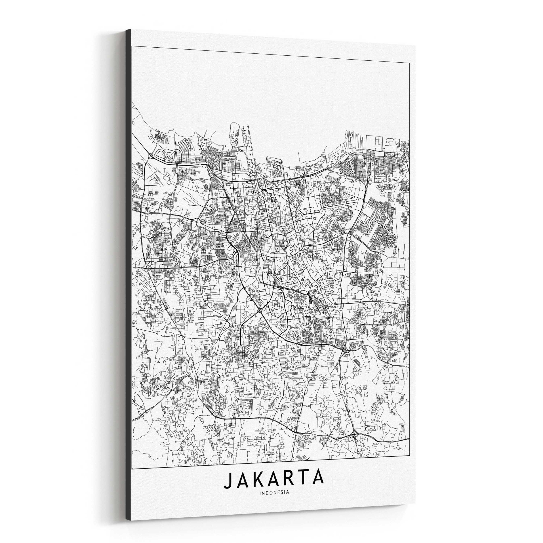 Shop Noir Gallery Jakarta Black & White City Map Canvas Wall Art - Print Puzzle Jakarta