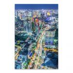 Shop Noir Gallery Jakarta Indonesia Skyline Night Metal Wall Art   Print Puzzle Jakarta
