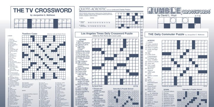 La Times Printable Crossword Puzzles 2019