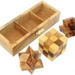Skavij 3D Wooden Puzzle Brain Teasers Toy Set Of Snake Cube Star   Printable Burr Puzzle