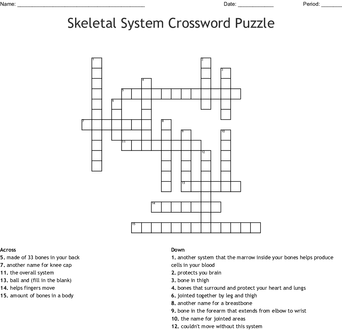 Skeletal System Crossword Puzzle Crossword - Wordmint - Skeletal System Crossword Puzzle Printables