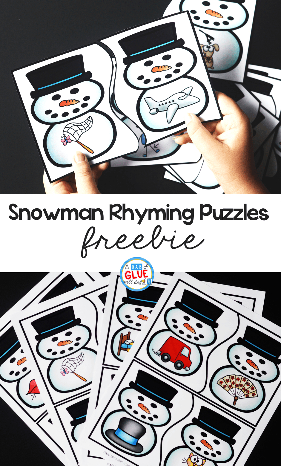 Snowman Rhyming Puzzles - A Dab Of Glue Will Do - Printable Rhyming Puzzles