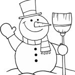 Snowman With Broom Coloring Page | Free Printable Coloring Pages   Printable Snowman Puzzle