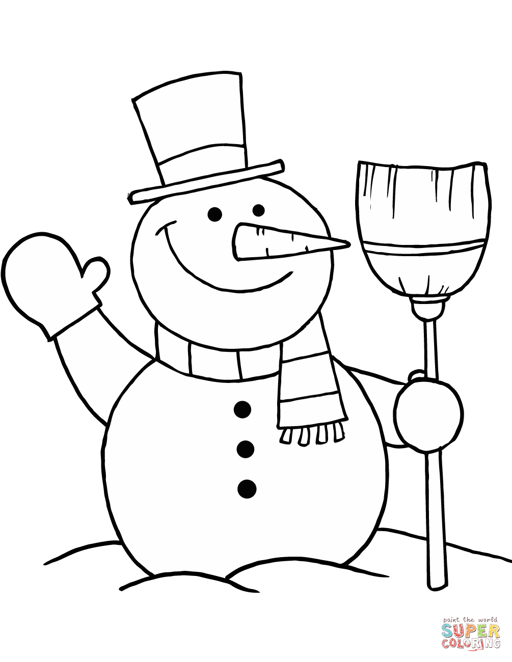 Snowman With Broom Coloring Page   Free Printable Coloring Pages - Printable Snowman Puzzle