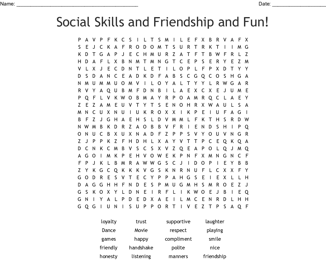 Social Skills And Friendship And Fun! Word Search - Wordmint - Respect Crossword Puzzle Printable