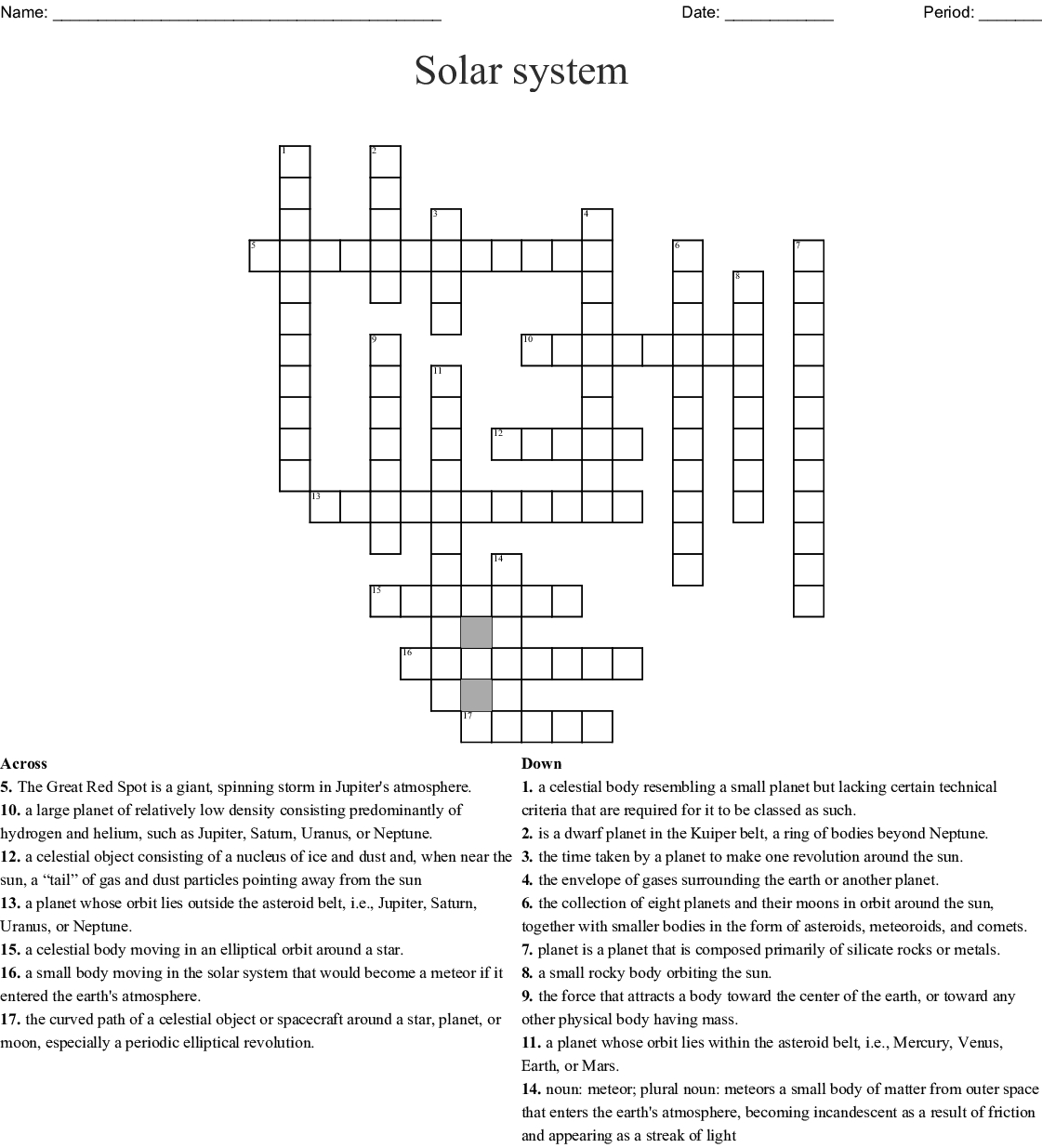 Solar System Crossword - Wordmint - Solar System Crossword Puzzle Printable