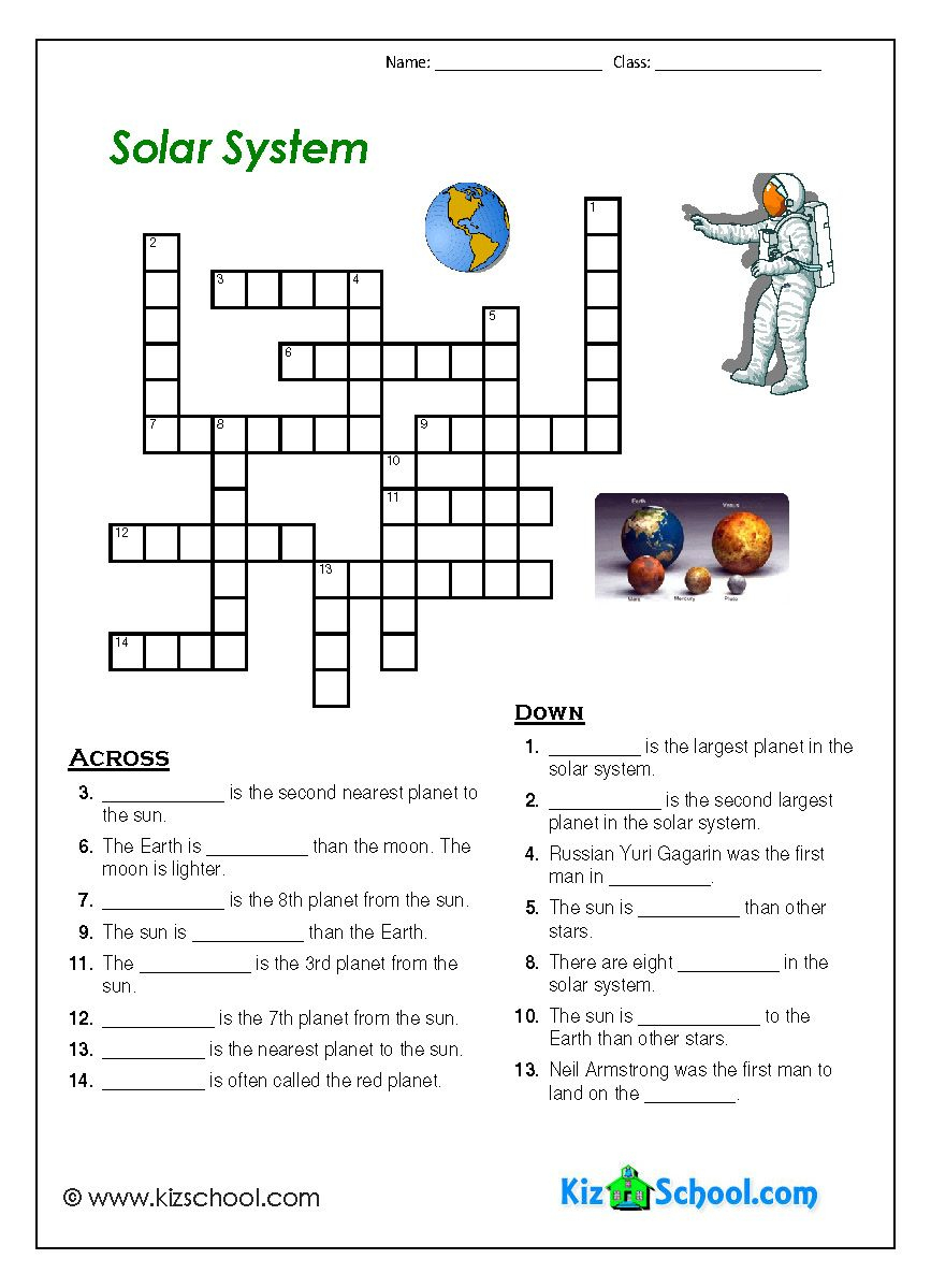 Solar System Crosword | Solar System | Solar System Worksheets - Printable Crosswords The Sun