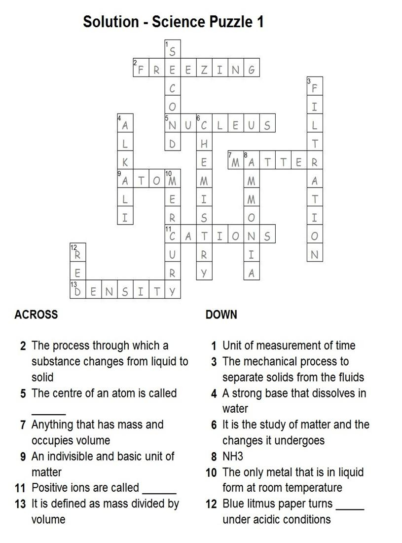 Solution - Science Puzzle 1 - Science Crossword Puzzles Printable With Answers