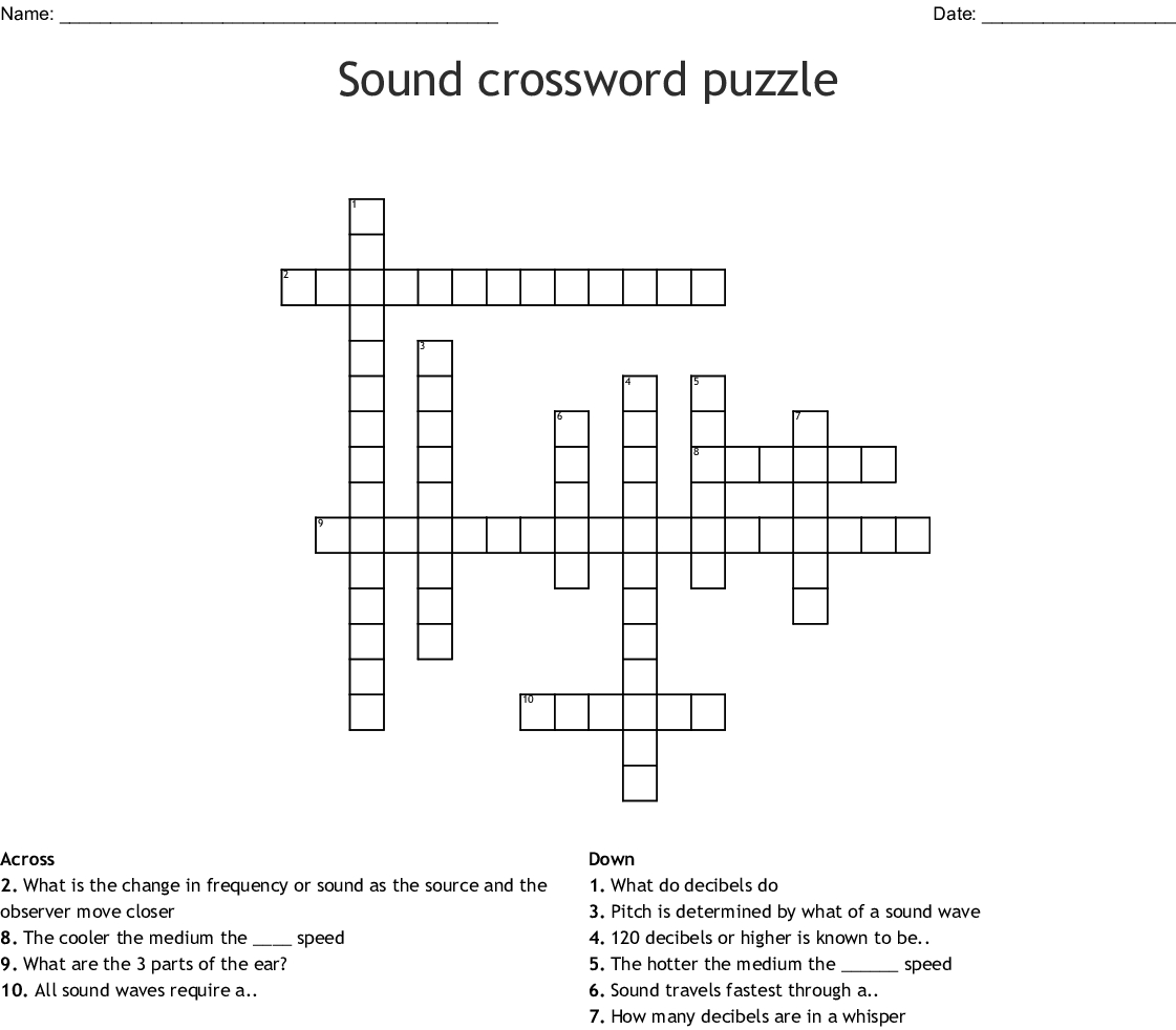 Sound Crossword Puzzle Crossword - Wordmint - Printable 2 Speed Crossword